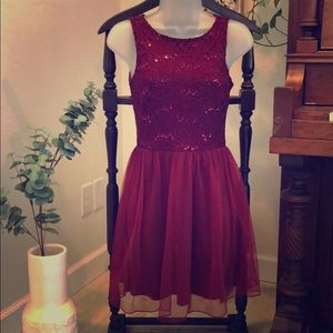 Dresses & Skirts - Ruby Red & Lace Sequin Semi-Formal Dress